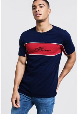 Mens Navy Colour Block MAN Signature Tee