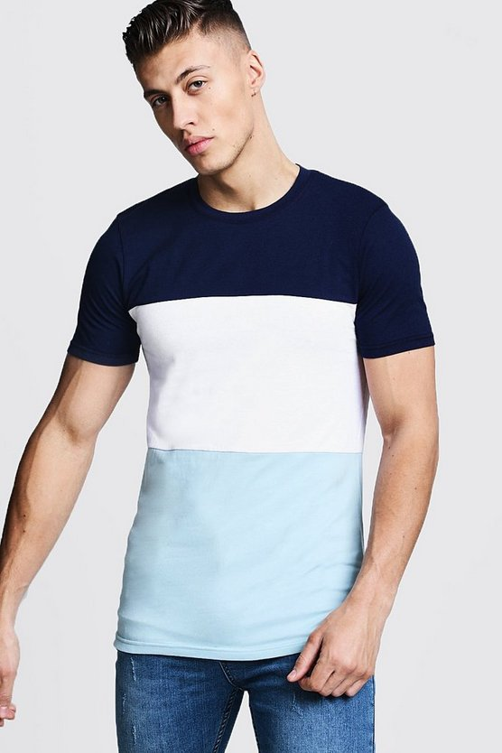Mens Navy Muscle Fit Colour Block Jersey T-Shirt