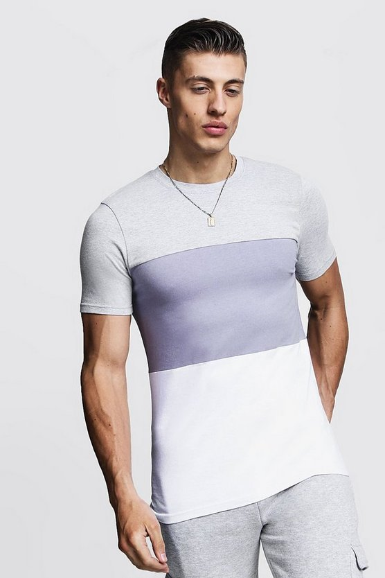 Mens Grey Muscle Fit Colour Block Jersey T-Shirt