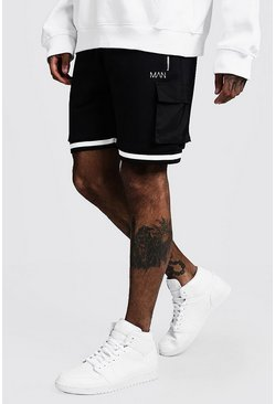 Mens Black MAN Utility Shorts With Side Tape