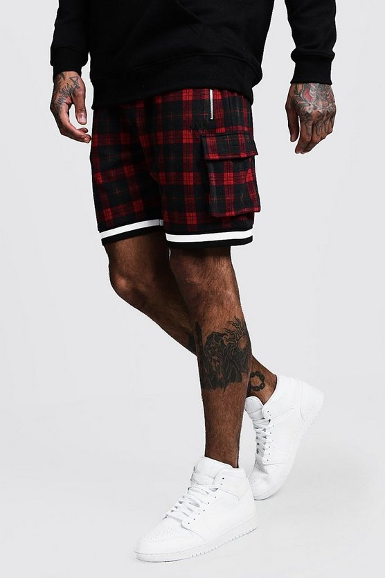 Red Jacquard Check MAN Cargo Shorts
