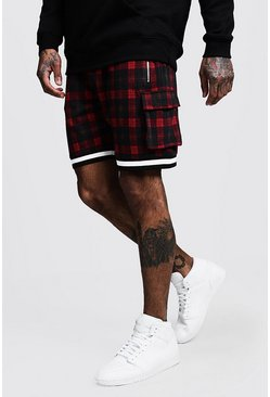 Mens Red Jacquard Check MAN Cargo Shorts