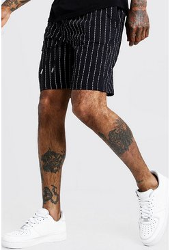 Mens Black MAN Repeat Pinstripe Print Short