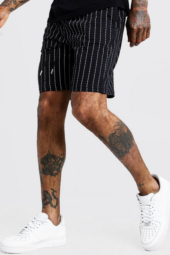 Short imprimé fines MAN Repeat, Noir, Homme