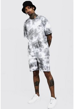 Mens Grey Tie Dye MAN Signature T-Shirt & Short Set
