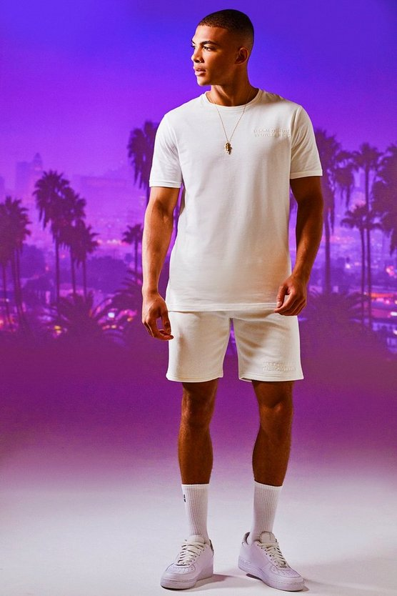 Mens White Worldwide Man Embroidered T-Shirt & Short Set