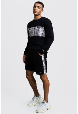 Mens Black MAN Signature Snake Panelled Loose Fit T-Shirt & Short Set