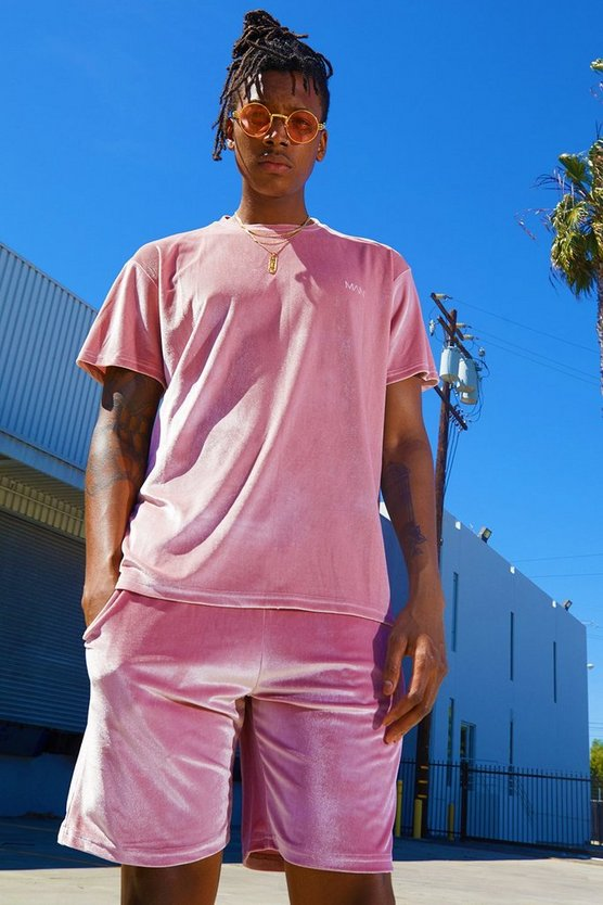 Pink Velour MAN Signature T-Shirt & Short Set
