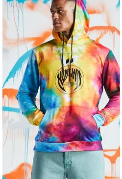Mens Multi Quavo Rainbow Tie Dye Hoodie With Print