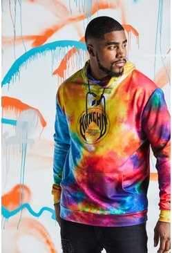 BIG & TALL Quavo Regenbogen-Hoodie in Batik-Optik, Mehrfarbig, Herren