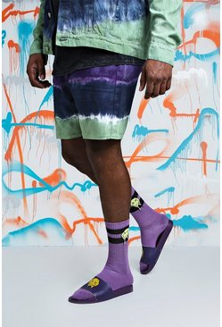 Big & Tall pantaloncini in denim Quavo slim fit effetto tie dye, Viola, Maschio