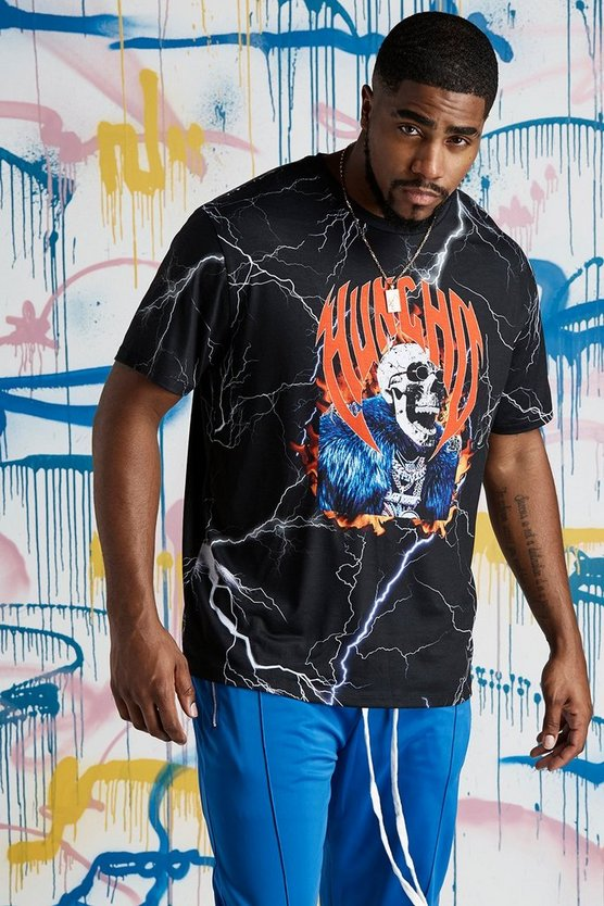 Mens Charcoal Big & Tall Quavo Skull Lightening T-Shirt