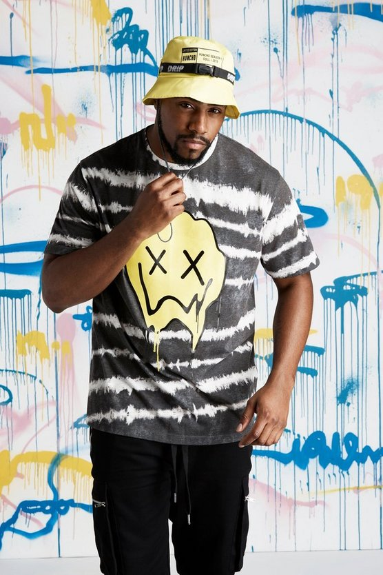 Mens Black Big  &Tall Quavo Drip Face Tie Dye T-Shirt