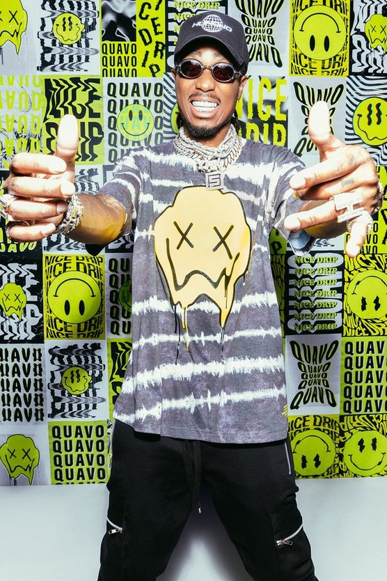 Mens Black Quavo Loose Fit Drip Face Tie Dye T-Shirt