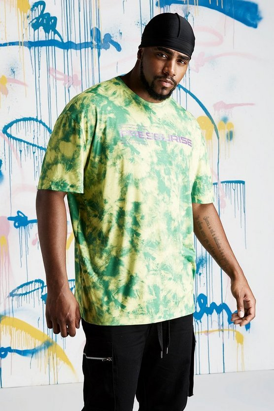 Mens Lime Big & Tall Quavo Slogan Tie Dye T-Shirt