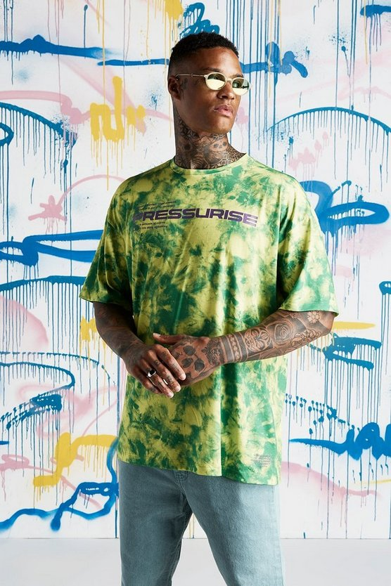 Mens Lime Quavo Loose Fit Slogan Tie Dye T-Shirt