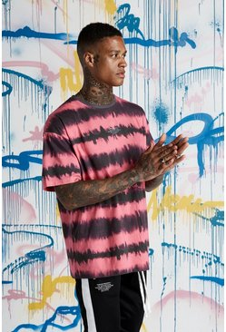 Mens Red Quavo MAN Tie Dye Loose Fit T-Shirt