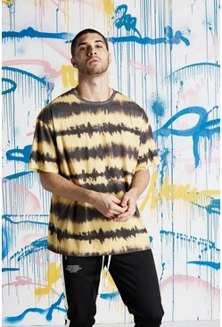 Mens Yellow Quavo MAN Tie Dye Loose Fit T-Shirt