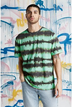Quavo Loose-Fit MAN T-Shirt in Batik-Optik, Jadegrün, Herren