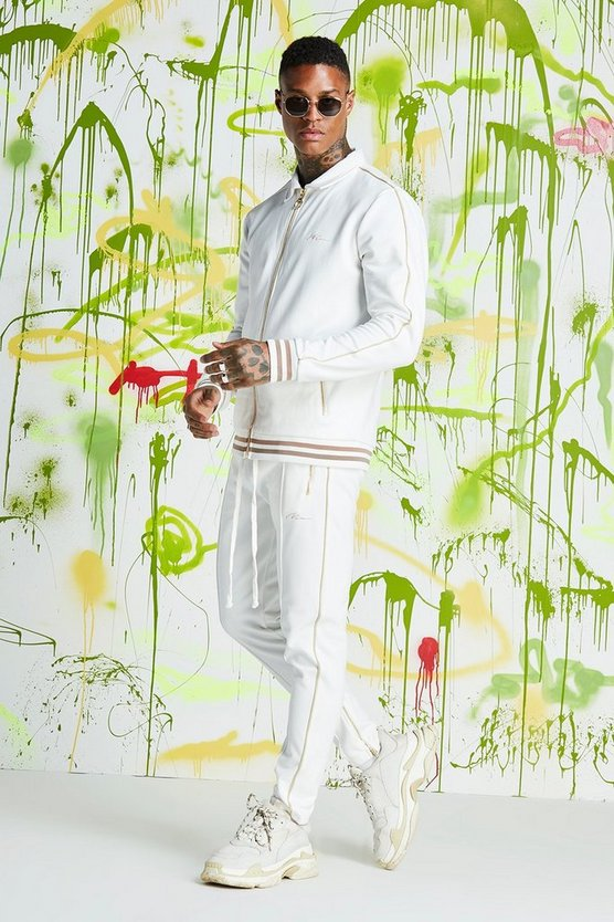 Mens White Quavo Coach Tricot Sports Rib Tracksuit