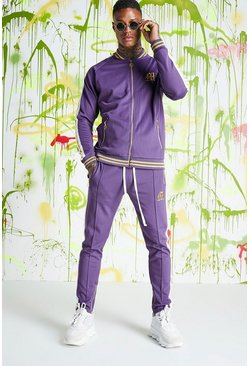 Mens Purple Quavo Bomber Neck Tracksuit With Sports Rib