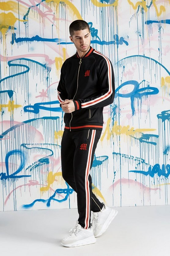 Mens Black Quavo Bomber Neck Tracksuit With Sports Rib