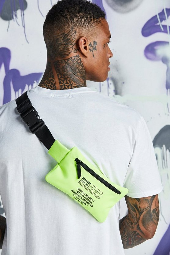 Mens Neon-green Quavo Print Crossbody Bag