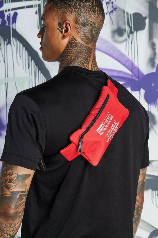 Mens Red Quavo Print Crossbody Bag