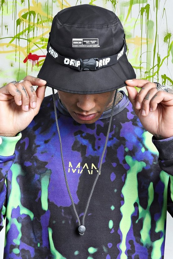 Mens Black Quavo Drip Tape Bucket Hat