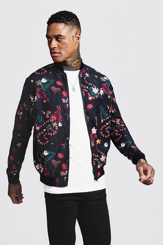 Mens Black Snake Print Bomber Jacket