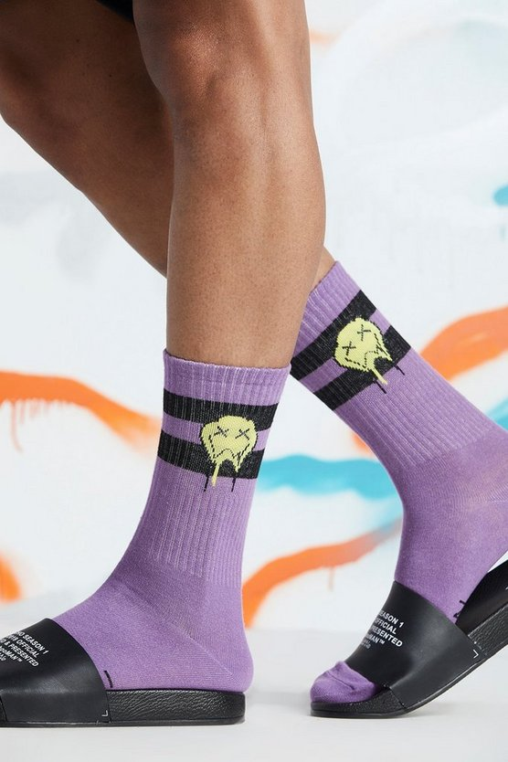 Mens Purple Quavo Drip Face Socks
