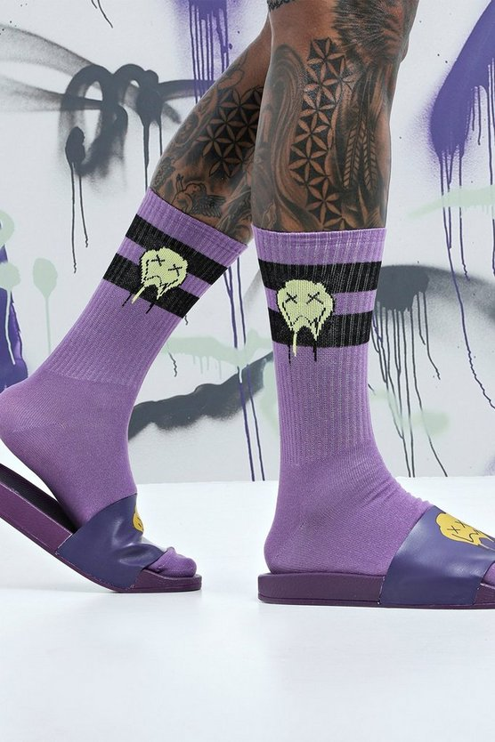 Mens Multi Quavo Purple & Black 2 Pack Socks