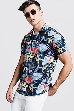 Bright Palm Print Short Sleeve Shirt