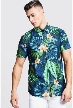 Mens Blue Floral Print Short Sleeve Shirt
