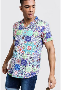 Mens Ecru Tile Print Short Sleeve Revere Shirt