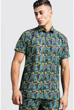 Mens Yellow Snake Print Short Sleeve Shirt
