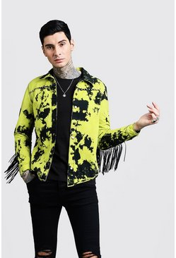Mens Lime Tie Dye Festival Shacket With Fringing