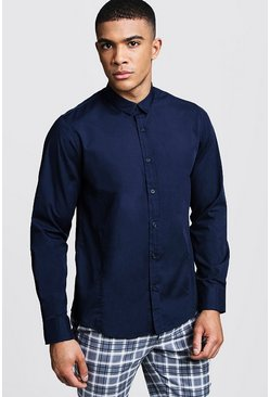 Chemise coupe droite manches, Marine, Homme