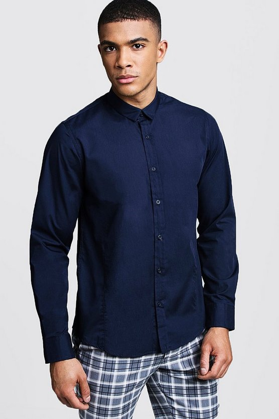 Mens Navy Long Sleeve Regular Fit Shirt