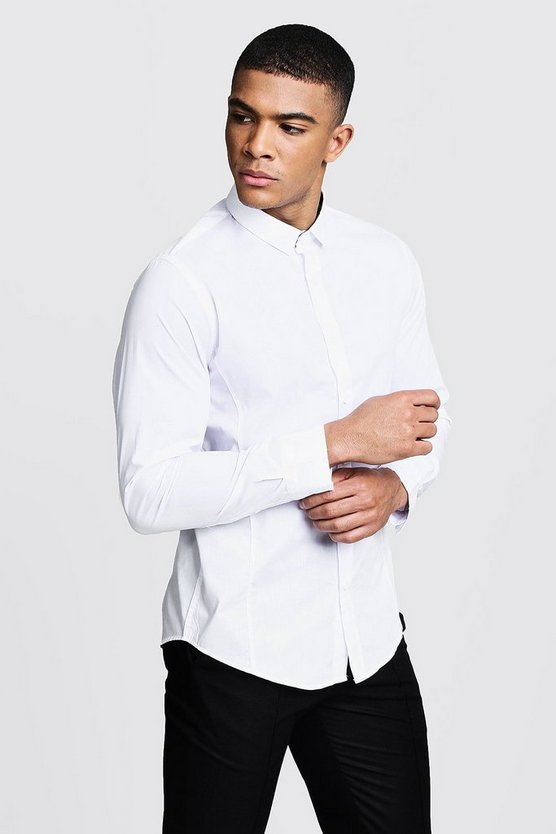 Mens White Long Sleeve Regular Fit Shirt