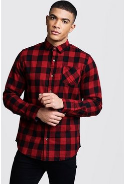 Mens Red Check Regular Fit Shirt