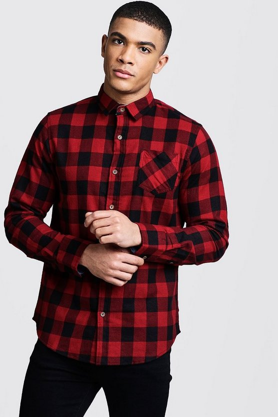 Mens Red Red Check Regular Fit Shirt