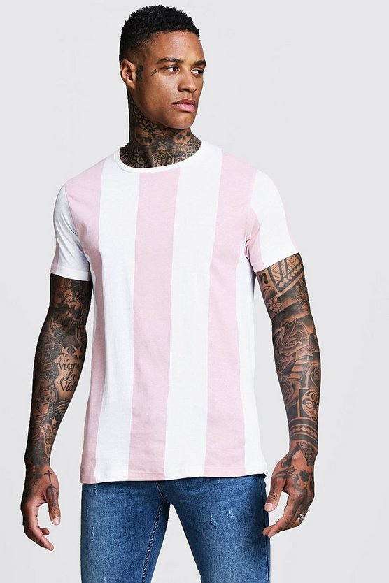 Mens Pastel pink Vertical Stripe Crew Neck T-Shirt