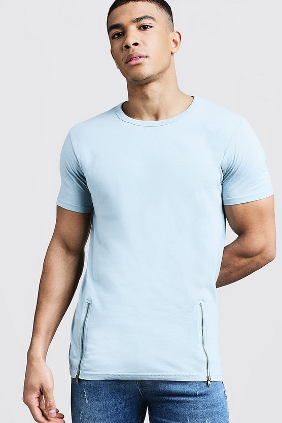 Longline Plain T-Shirt With Zip Detail