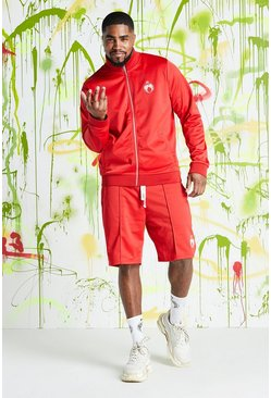 Mens Red Big & Tall Quavo Tricot Funnel Neck Short Set