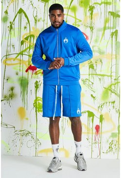 Mens Cobalt Big & Tall Quavo Tricot Funnel Neck Short Set