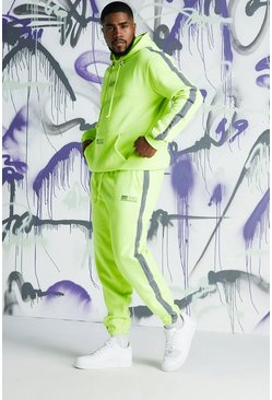 Mens Lime Big & Tall Quavo Hooded Tracksuit With Side Tape