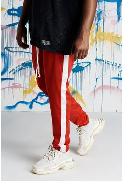 Mens Red Big And Tall Quavo Tricot Joggers With Panels