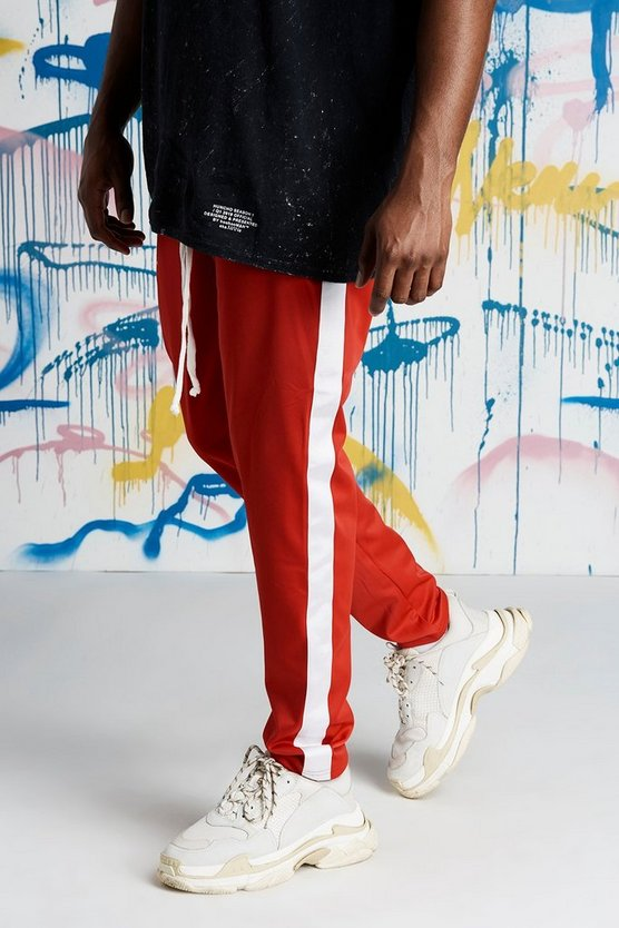 Red Big And Tall Quavo Tricot Joggers With Panels
