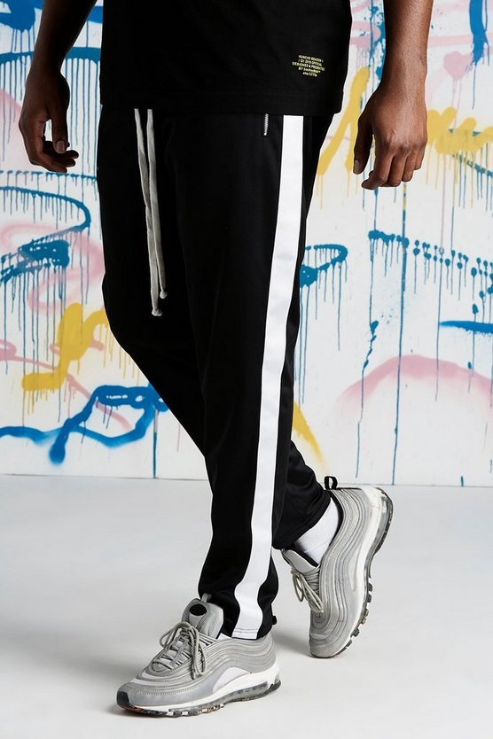 Black Big And Tall Quavo Tricot Joggers With Panels